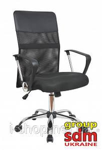 Кресло офисное Оливия Н, сетка, хром, цвет черный