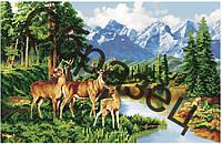 Схема для вышивки бисером «Пейзаж с оленями»