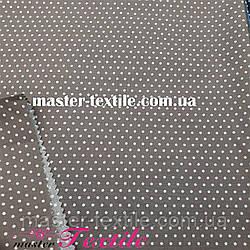 Сорочкова тканина горох 2 мм (коричневий/білий)