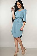 Красивое платье прямого кроя Лагуна с поясом и чокером 42-52 размеры голубое