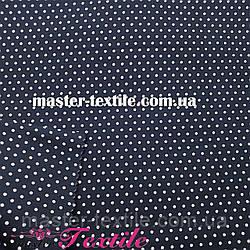 Сорочкова тканина горох 2 мм (темно-синій/білий)