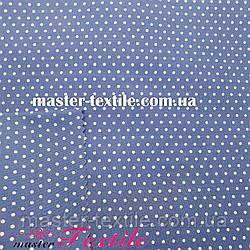 Сорочкова тканина горох 2 мм (джинса/білий)