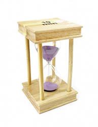 Песочные часы 10 минут на квадратной деревянной подставке сиреневый песок