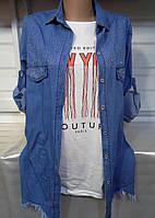 Двойка (рубашка + безрукавка с надписями NEW YORK) женская (ПОШТУЧНО) S/38, фото 1