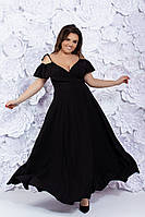 Легкое нарядное платье в пол на запах с глубоким декольте на полных дам черное, р. 48-52