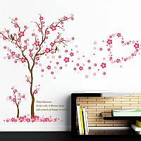"""Виниловые наклейки на стену, шкаф, витрину магазина """"Цветущая сакура с птичками"""" 1м*167см (лист 60*90см)"""