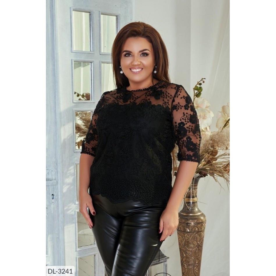 Блуза жіноча з сітки з візерунком на підкладі