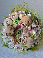 """Букет из игрушек и конфет """"Три сладких мишки"""". Оригинальный подарок на 14 февраля"""