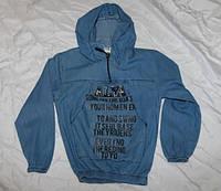 Детская джинсовая кофта с капюшоном для девочек3-7лет, синего цвета