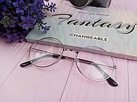 Имиджевые очки круглые с прозрачными стеклами - Серебряные