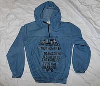 Подростковая джинсовая кофта с капюшоном для девочек8-12 лет, синего цвета
