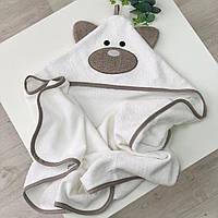 Полотенце-уголок для купания молочного цвета «Мишутка»