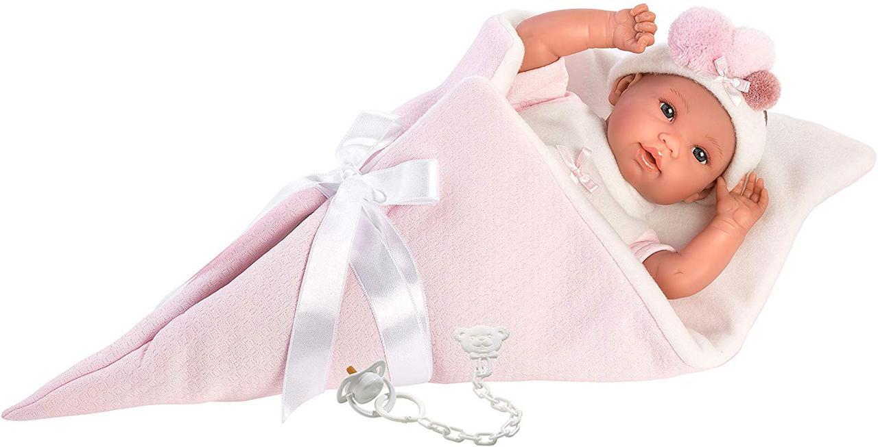 Кукла Llorens плачущая Лоренс в розовом конусе-одеяле 35 см 63632