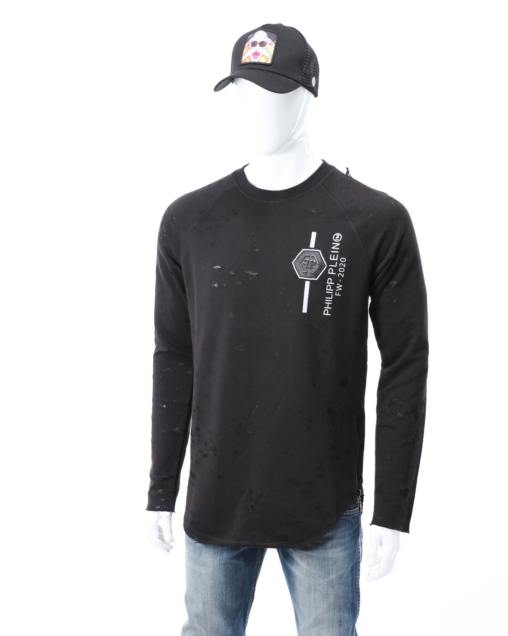 Свитшот черный PHILIPP PLEIN патч #4 Р-2 BLK M(Р) 20-517-212-004