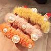 Резинка для волос меховая с бусинками, фото 3