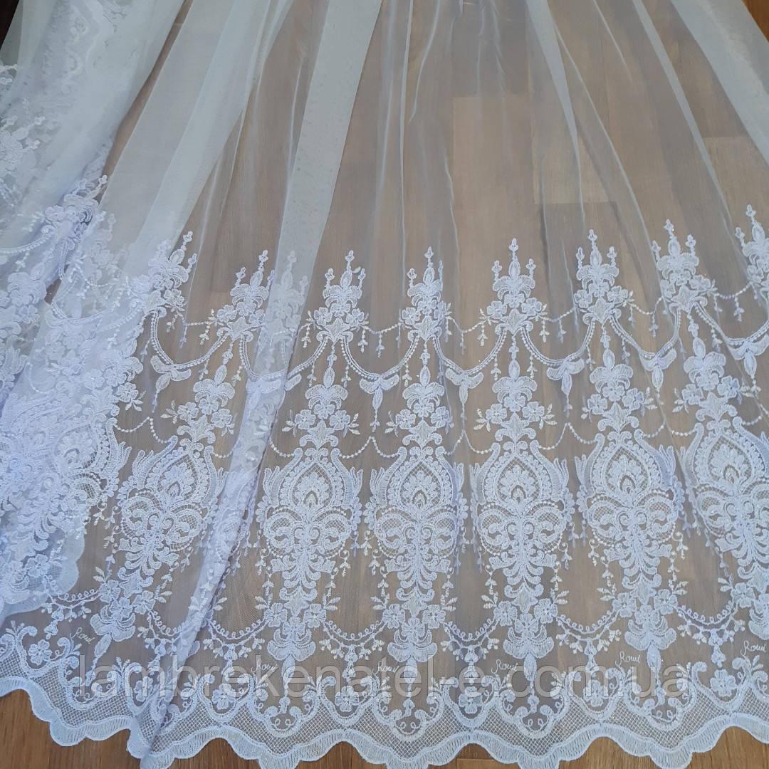 Тюль в зал, для спальни фатин-грек с вышивкой белый купон