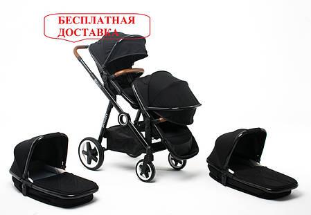 Детская универсальная коляска для двойни 2 в 1 Babyzz Dynasty (2 люльки+ 2 прогулки), фото 2