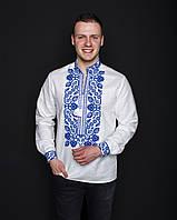 """Мужская,нарядная рубашка """"Всеволод"""",длинный рукав,ткань лен, размеры 42,44,46,48,50  (046)белая с синим"""