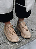 Стильны кроссовки Alexander McQueen (Александр Маквин) Beige LUX QUALITY, фото 5