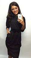Черное платье миди  46 Черный