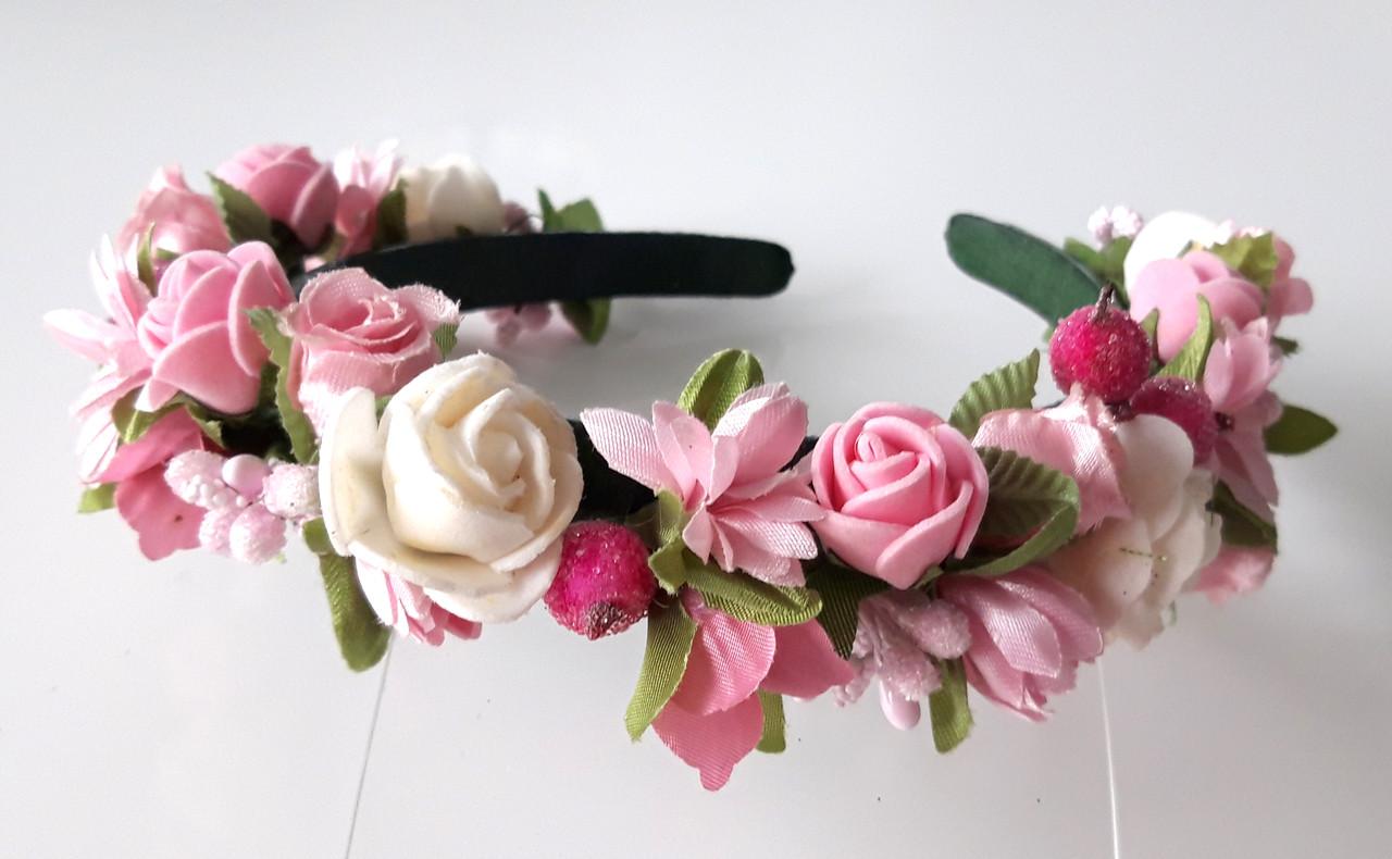 Обруч віночок ручна робота рожеві і білі квіти