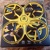 Квадрокоптер управляемый жестами руки / Сенсорный дрон с браслетом, желтый коптер (Реальные фото!)