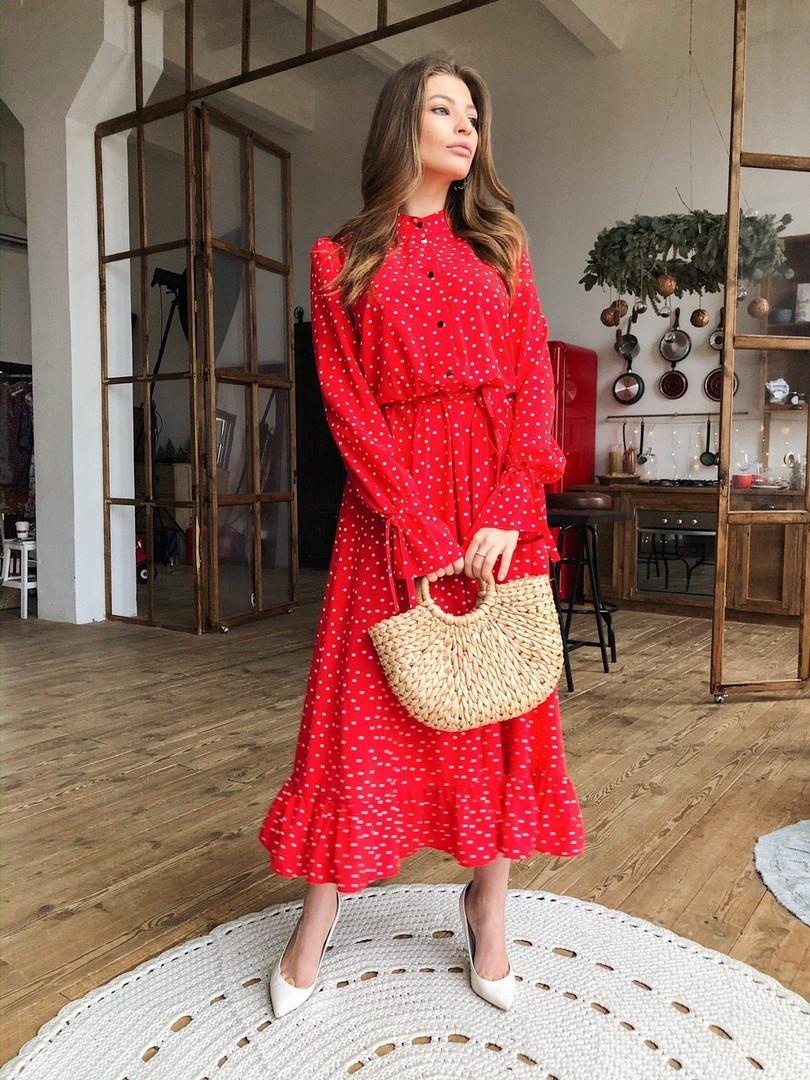 Женское красное длинное платье в горошек «Валенсия»