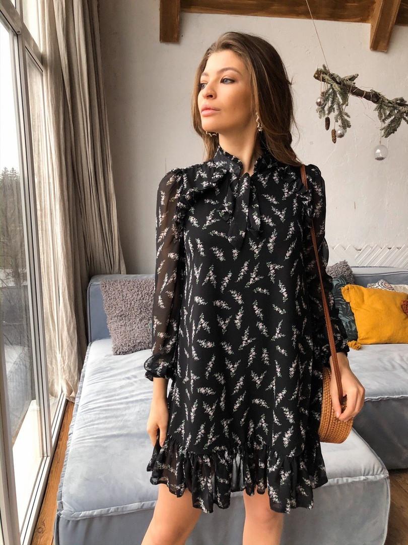 Женское стильное черное платье с принтом «Софи»
