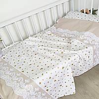 """Комплект постельного белья в кроватку """" сердечки золотые"""""""