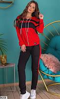 Спортивный костюм женский красно-черный 64259