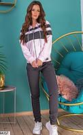 Спортивный костюм женский розово-серый 64257