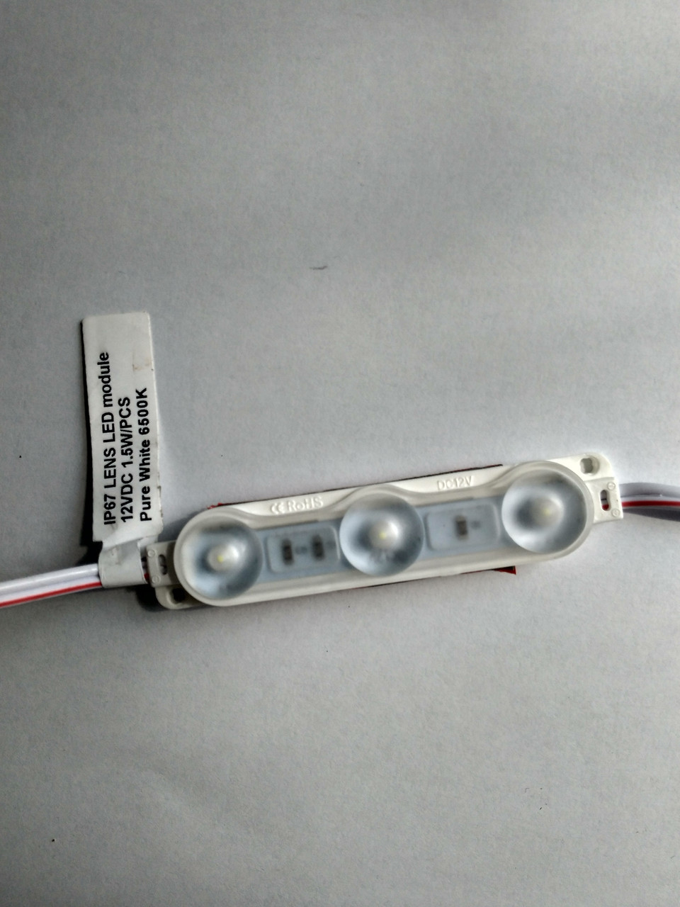 Оранжевий світлодіодний модуль 0.72 Вт 12вольт три лед 2835 з лІнзами Преміум IP67