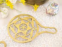 Винтажная латунная подставка под чайник, латунь, Индия, фото 1