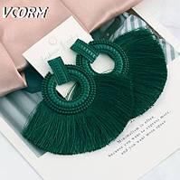 Серьги Бахрома большие цветной метал, цвет зеленый