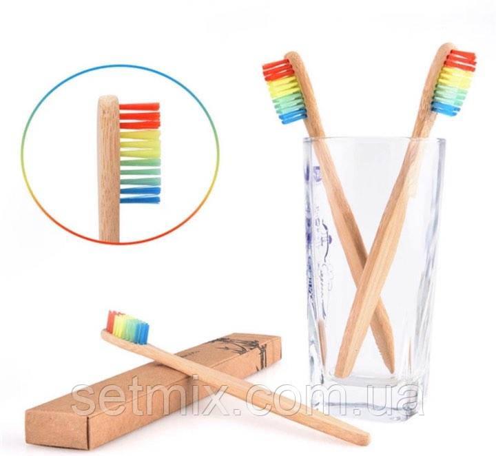 Натуральная бамбуковая зубная щетка (Радуга)