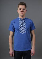 """Чоловіча футболка - вишиванка """"Захар"""", тканина трикотаж, розміри 44,46,48,50,52,54 джинс з чорним"""