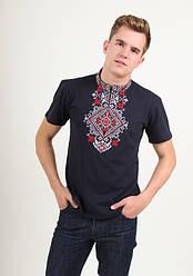 """Чоловіча футболка - вишиванка """"Орел"""", тканина трикотаж, розміри 44,52,54 синя з червоним"""