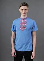 """Мужская,нарядная футболка """"Бажан"""",ткань трикотаж, размеры 42,48,50(046) голубая с красным"""
