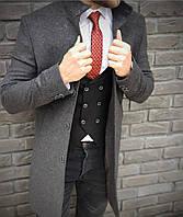 Мужское кашемировое пальто на пуговицах прямого кроя
