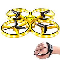 Квадрокоптер управляемый жестами руки / Сенсорный дрон с браслетом, желтый (Живые фото!)