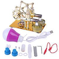 Высокотемпературный  двигатель Стирлинг Stirling Engine High  Temperature  Engine с генератором и LED лампой