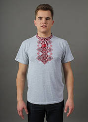 """Чоловіча футболка - вишиванка """"Бажан"""", тканина трикотаж, розміри 44,46,48,50,52,54,56 сіра з червоним"""
