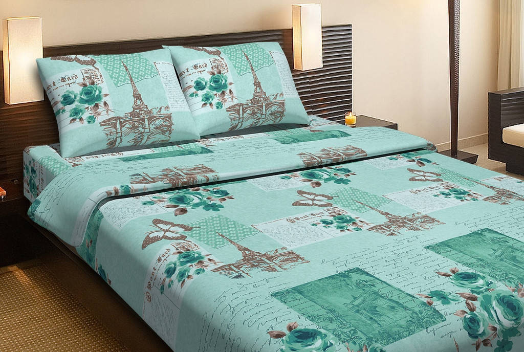 Постельное белье Lotus Ranforce Paris бирюзовый двуспального размера