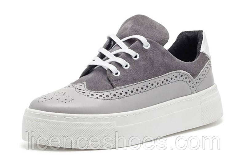 Женские кроссовки, кеды, оксфорды Broni Jeans Original (Серый цвет)