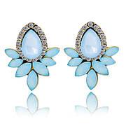 Серьги гвоздики, Кристальный цветок, цвет голубой