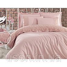 Комплект постельного белья сатин c гипюром  ТМ Gardine's Mila pudra