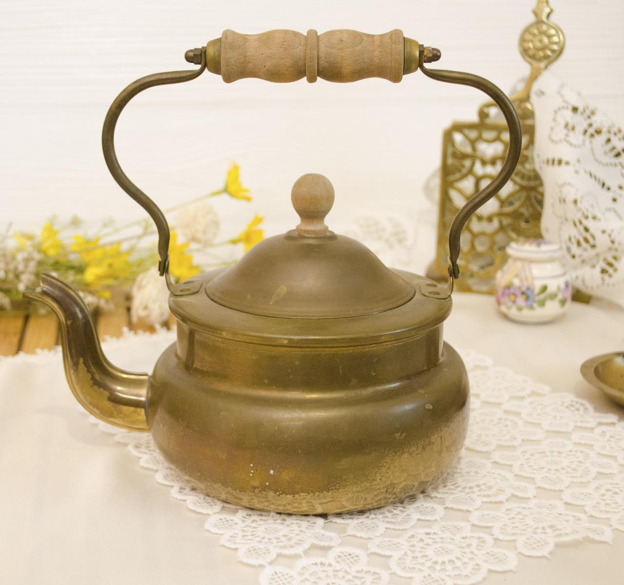 Старый бронзовый чайник, бронза, деревянная ручка, Европа, 1,5 литра