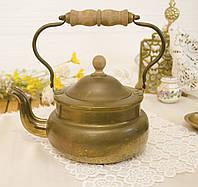 Старый бронзовый чайник, бронза, деревянная ручка, Европа, 1,5 литра, фото 1
