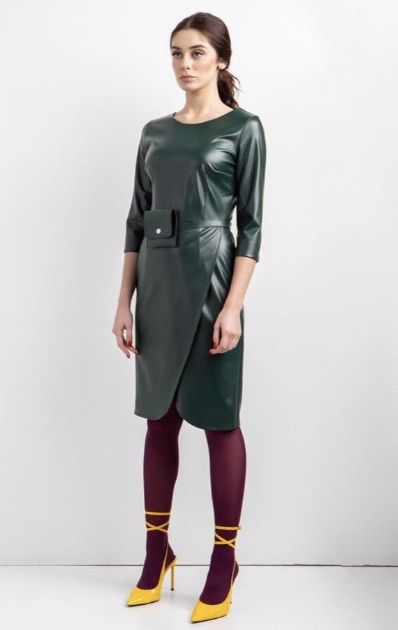 Платье эко-кожа женское копия Zara с сумочкой