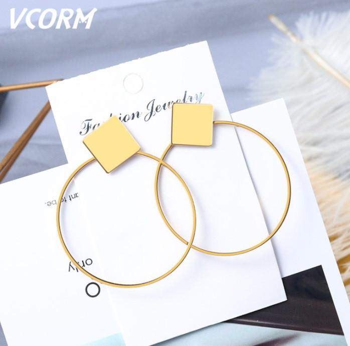 Серьги гвоздики, Геометрические кольца, цвет золото